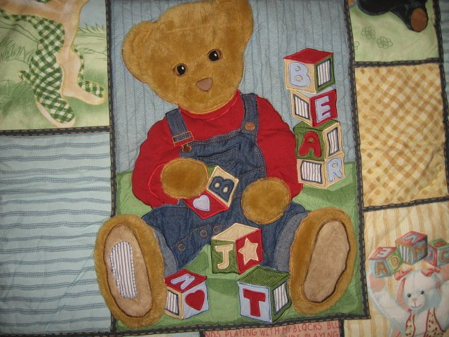 Image 1 of Blue JeanTeddy and friends blocks  crib quilt out of print