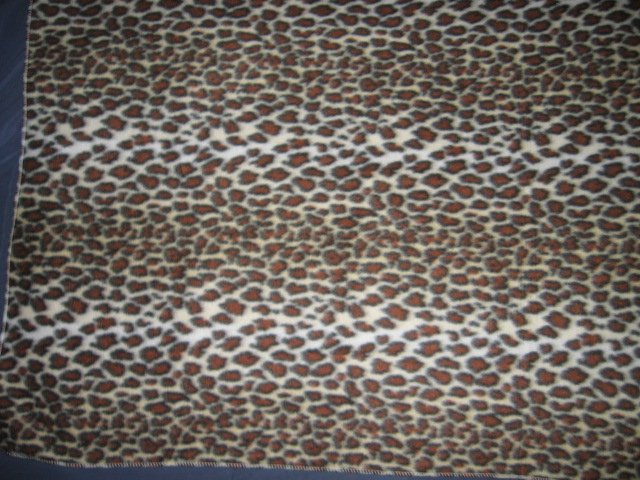 Image 0 of Wild animal leopard spot stripe brown fleece blanket