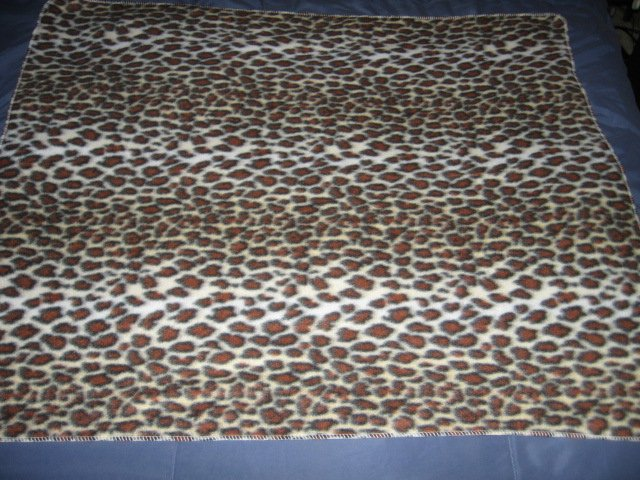 Image 1 of Wild animal leopard spot stripe brown fleece blanket