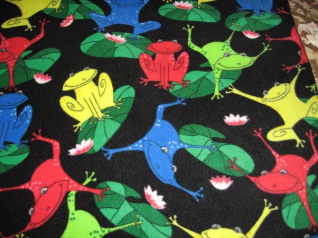 Image 0 of Frog lilly pad primary colors black fleece  blanket  28 x 30