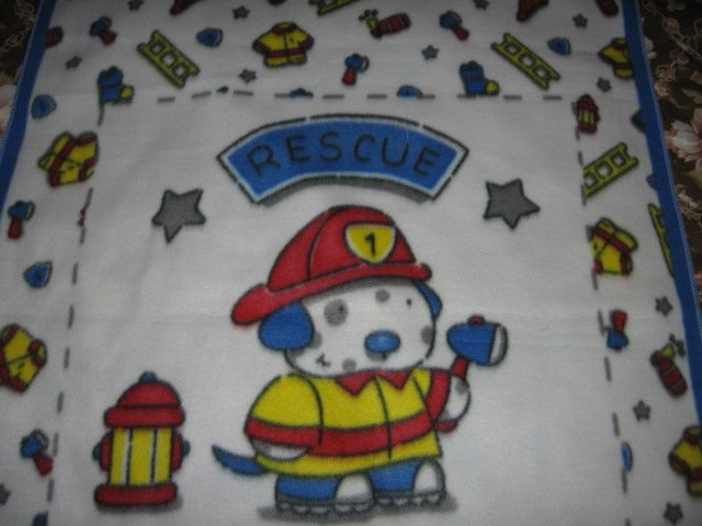Image 0 of Fire Rescue Dog ladder helmet Child Bed size Fleece Blanket