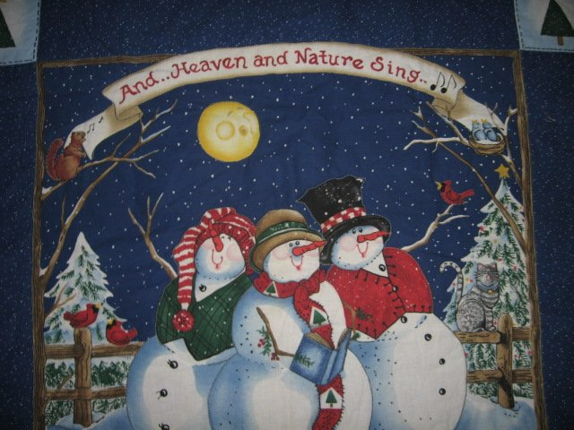 Snowmen christmas caroling quilted winter wall hanging