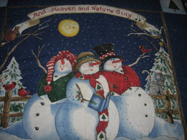 Image 1 of Snowmen christmas caroling quilted winter wall hanging