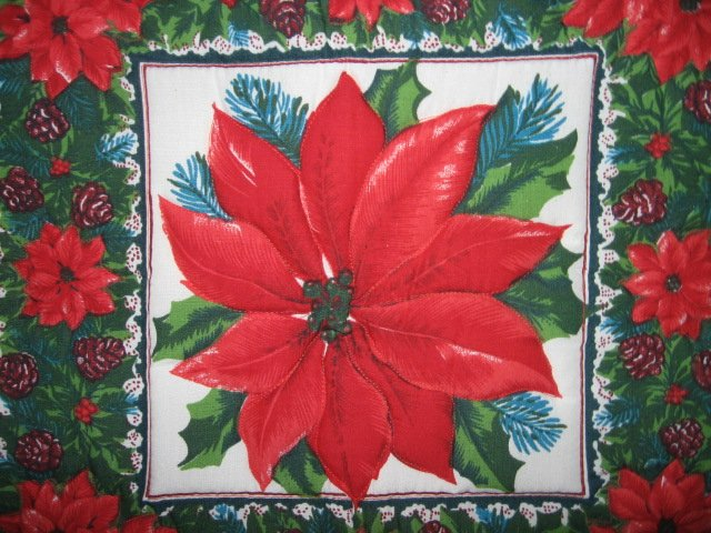 christmas pointsetia 20 inch square padded quilted pillow case