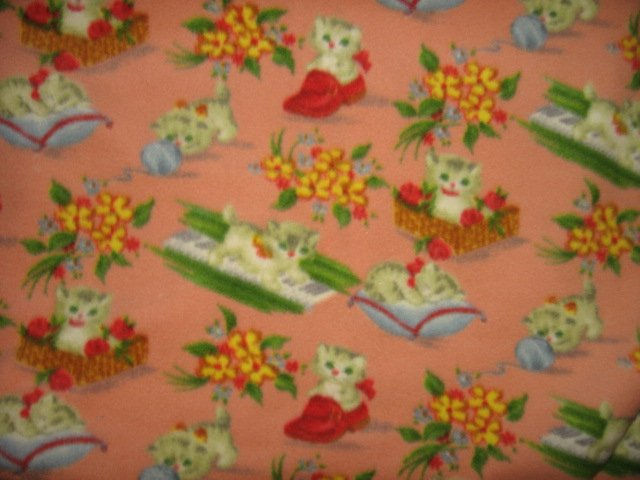 cat flower basket baby blanket or for toddler day care salmon color