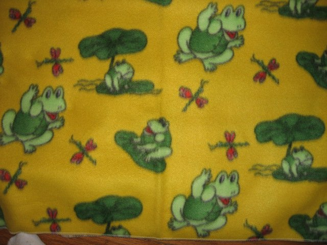 Image 0 of Frog dragonfly yellow fleece blanket for toddler daycare or car seat