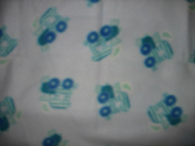 Image 0 of Train powder blue toddler day care fleece blanket  30 by 36 inches