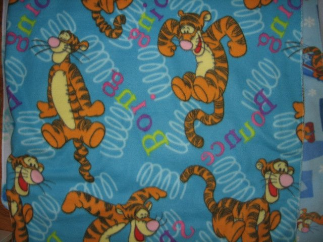 Image 0 of Just Tigger bouncing baby or day care fleece blanket 30 by 36 inches blue