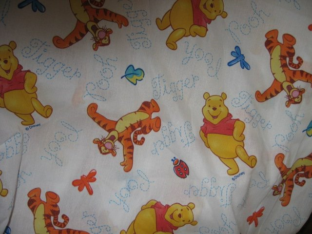 Winnie the Pooh Tigger  fitted bed sheet looks like bband new fabric  56 X 84 in