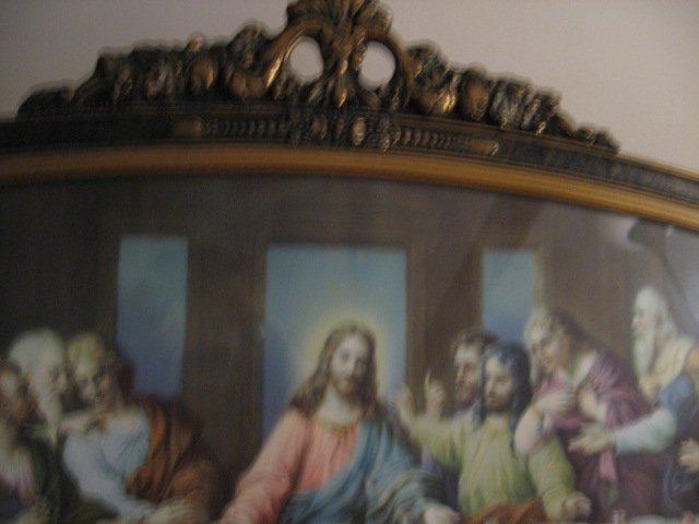 Image 0 of Jesus Apostle Last Supper print exquisite carved frame glass vnt decorative