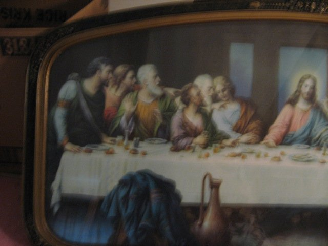 Image 1 of Jesus Apostle Last Supper print exquisite carved frame glass vnt decorative