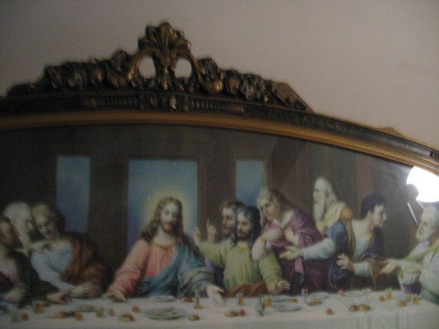 Image 2 of Jesus Apostle Last Supper print exquisite carved frame glass vnt decorative