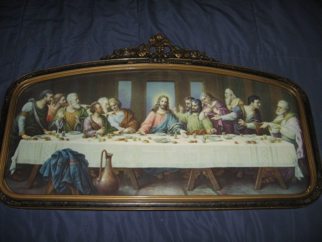 Image 3 of Jesus Apostle Last Supper print exquisite carved frame glass vnt decorative