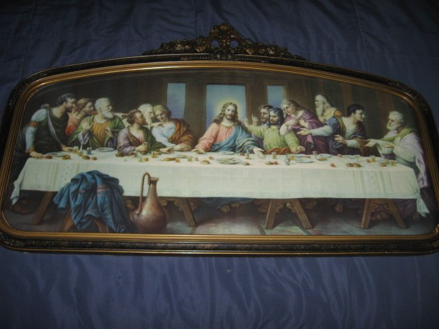 Image 4 of Jesus Apostle Last Supper print exquisite carved frame glass vnt decorative