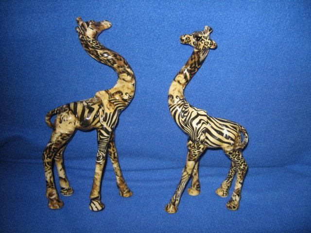 Image 0 of Two giraffes intertwinable resin figurines rare 13 inches tall
