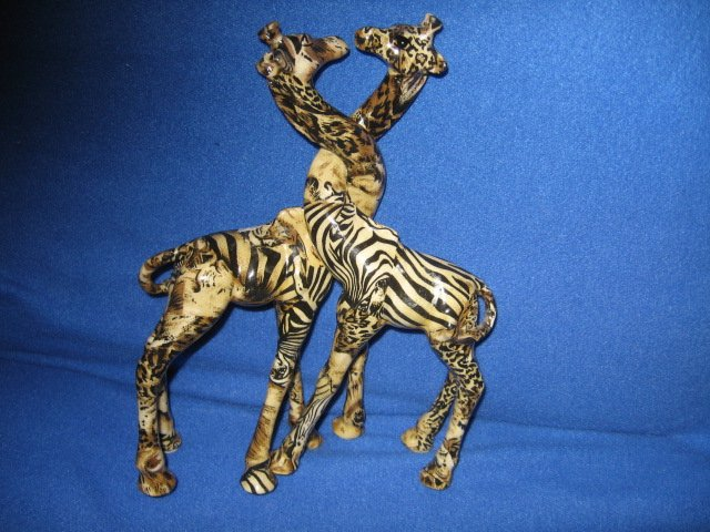 Image 1 of Two giraffes intertwinable resin figurines rare 13 inches tall