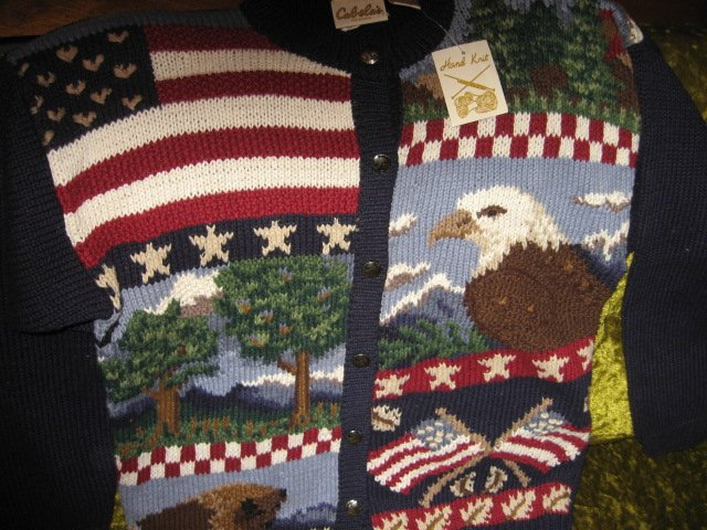 Image 3 of Cabela's for women hand knit patriotic red white blue large sweater