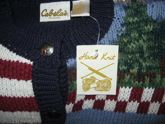 Image 1 of Cabela's for women hand knit patriotic red white blue large sweater