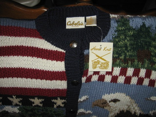 Image 2 of Cabela's for women hand knit patriotic red white blue large sweater