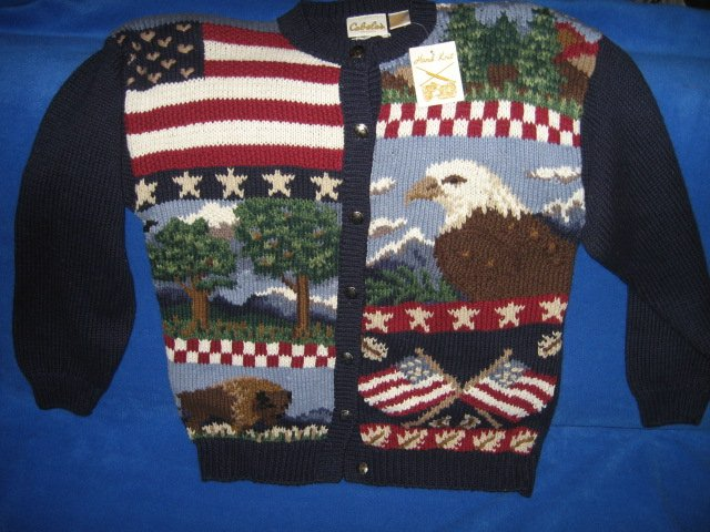 Cabela's for women hand knit patriotic red white blue large sweater
