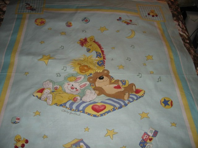 Suzy's Zoo Giraffe Bunny Bear Crib Quilt throw Licensed fabric panel to sew