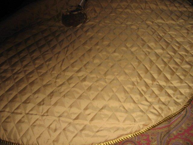 Image 4 of Partridge pear Martha Stewart Christmas tree skirt gold satin  braid edge quilt