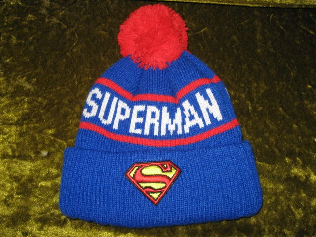 Superman Winter knit double thick hat pompom