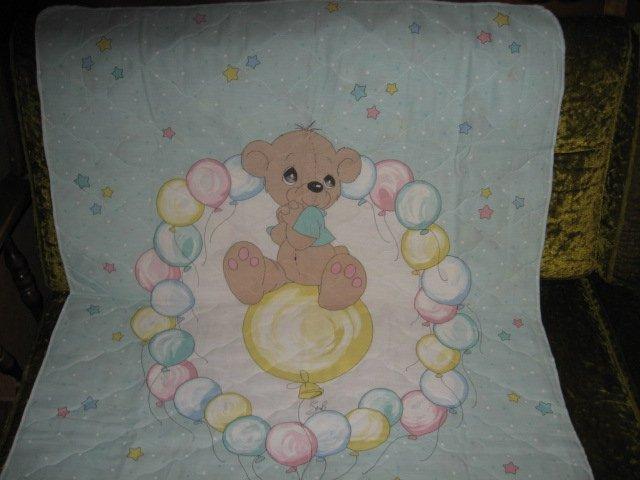 Boy Teddy Bear Precious Moments baby crib Quilt