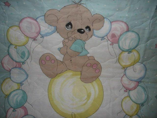Image 1 of Boy Teddy Bear Precious Moments baby crib Quilt