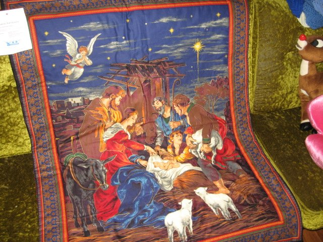 Image 3 of Nativity Jesus Quilt Mary Joseph Christmas Wal Mart Display item rare