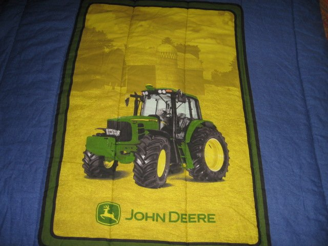 Image 1 of John Deere Tractor extra thick comforter 60 inches by 82 inches w/pillow case