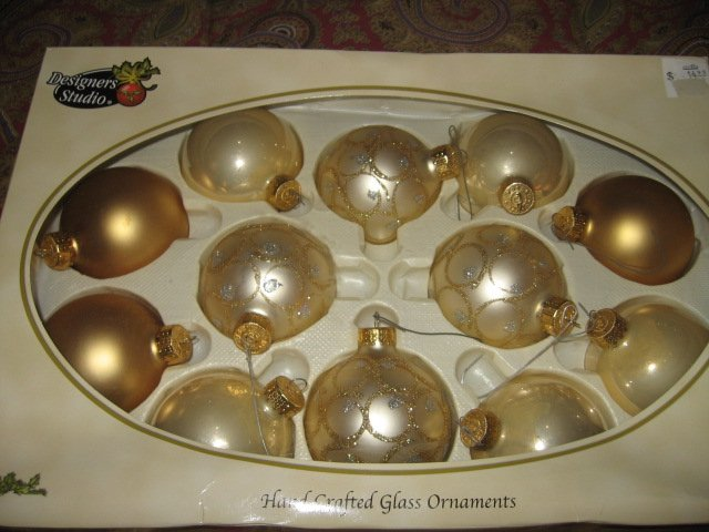 Image 1 of Ornament Designers Studio Hand Crafted Glass 2 sets of Twelve gold
