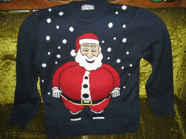 Image 0 of Santa big belly stuffed sweater size medium like new