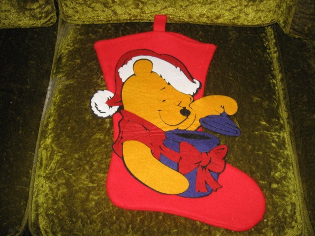 Winnie the Pooh 18 inch felt Christmas stocking with hanger