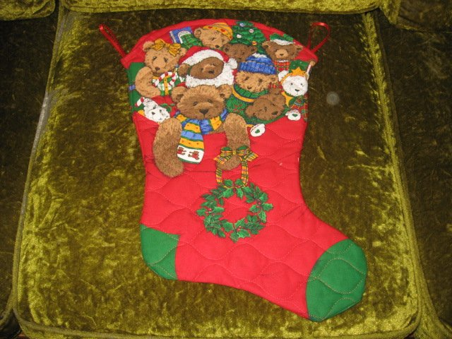 Teddy bear large 18 inch Quilted Christmas stocking with hanger