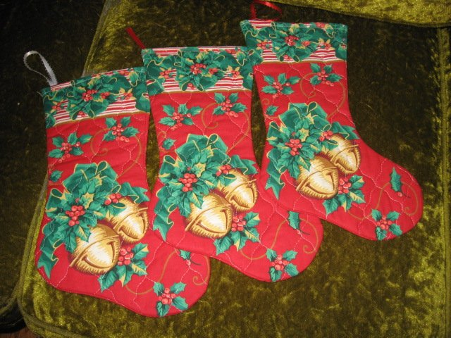 Christmas bell 12 inch set of three  Quilted Christmas stockings with hanger