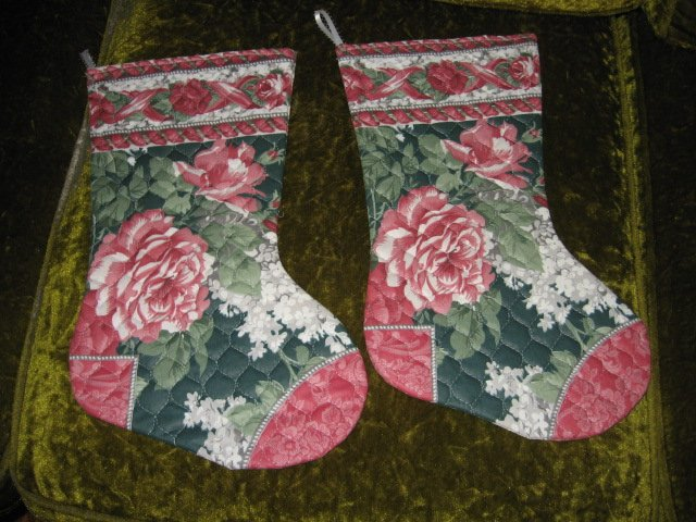 Christmas flower 15 inch set of two  Quilted Christmas stockings with hanger