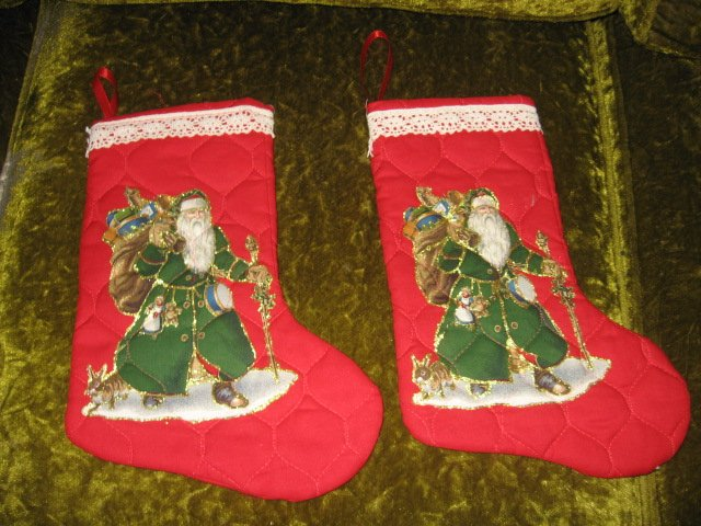 Image 0 of Old world Santa 12 inch set of two  Quilted Christmas stockings with hanger