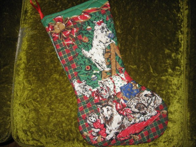 Image 0 of Christmas dogs 17 inch Quilted Christmas stocking with hanger