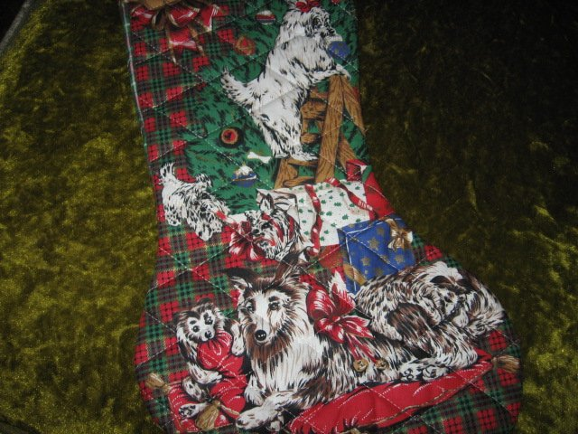 Image 1 of Christmas dogs 17 inch Quilted Christmas stocking with hanger