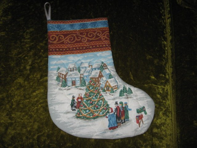 Old world village 12 inch Quilted Christmas stocking with hanger
