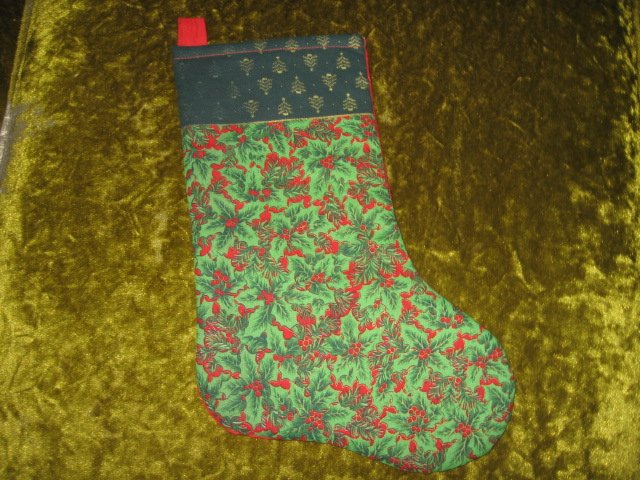 Image 0 of Holly flowers 12 inch Quilted Christmas stocking with hanger