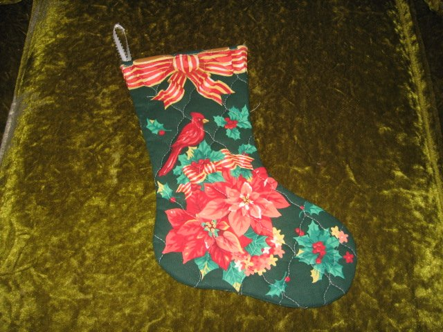 Image 0 of Cardinal Holly flowers Christmas quilted 12 inch stocking
