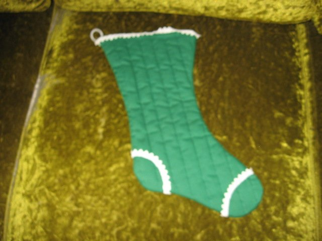 Image 1 of Victorian laced boot style  Christmas quilted 14 inch stocking