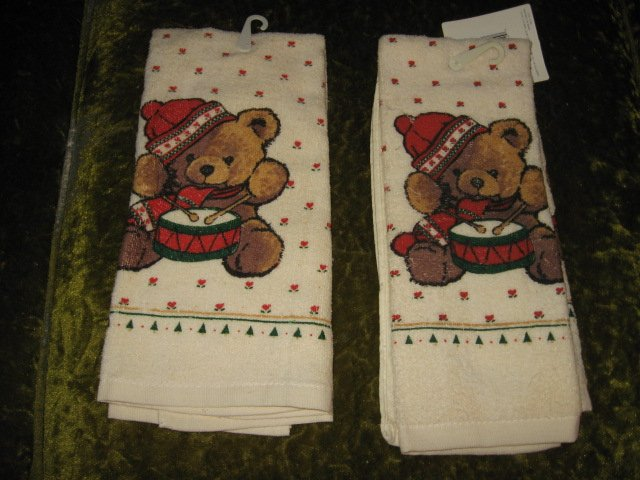 Kitchen towel Teddybear drummer Christmas set of two
