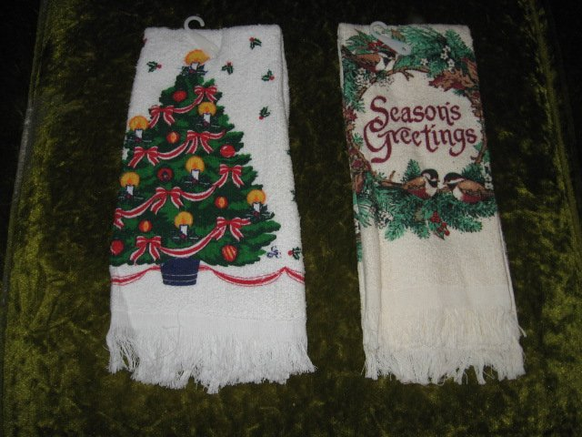 Image 0 of Kitchen towel Season Greeting  Christmas set of two