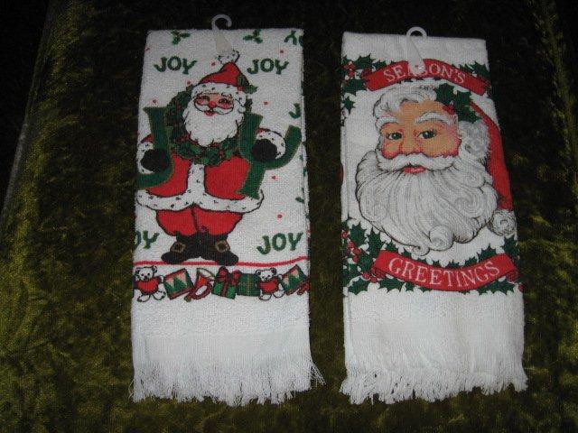 Image 0 of Kitchen towel Santa Seasons Greeting Christmas set of two