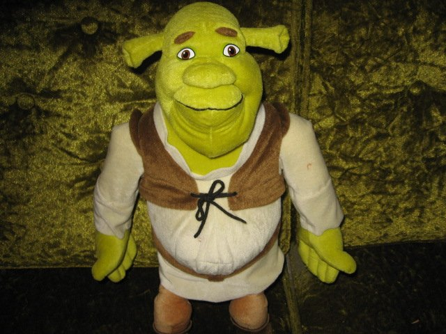 Image 1 of Shrek doll eighteen inches clothes and boots plus 9 inch Shrek doll too