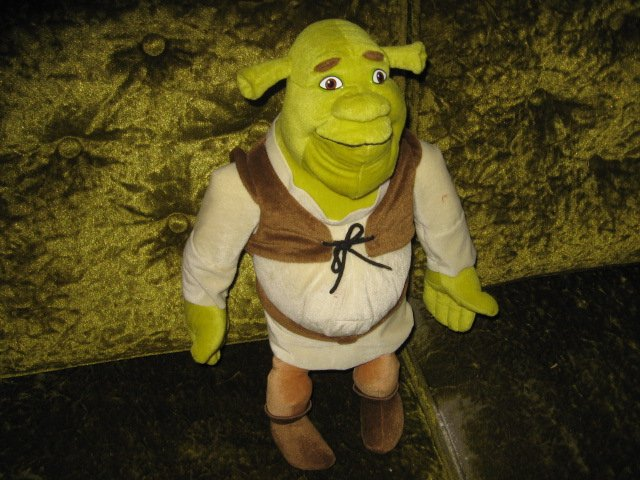 Image 2 of Shrek doll eighteen inches clothes and boots plus 9 inch Shrek doll too