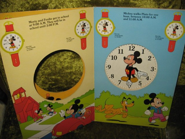 Image 3 of Mickey Mouse Disney Learn to use Clock Book Ages 3 and up